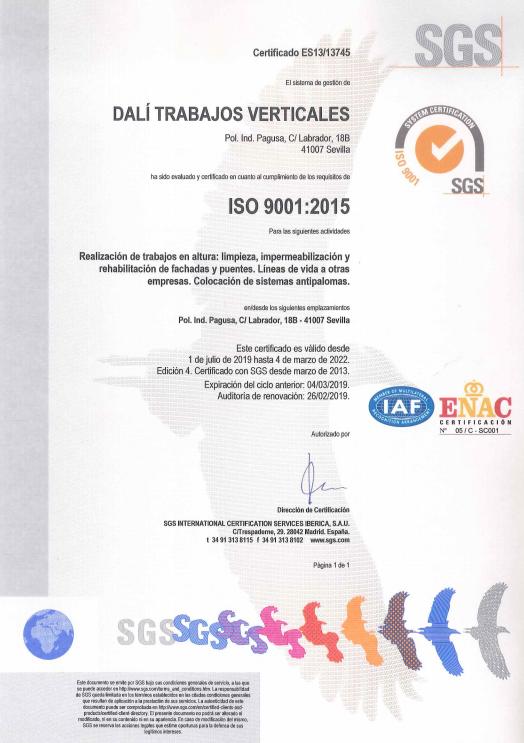 Certificación 1 - Dalí Trabajos Verticales